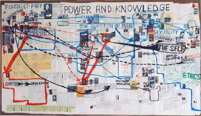 "Thomas Hirschhorn and Marcus Steinweg, ""Foucault-Map"", 2004, 4,54 × 2,74 m, Collection Museu Serralves, Porto"