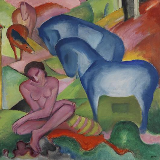"""Franz Marc """"Der Traum / The Dream"""", 1912, Oil on canvas, 100.5x135.5 cm. Given To Kandinsky in exchange, 1912. Museo Thyssen-Bornemisza"""