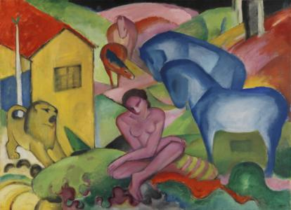 "Franz Marc ""Der Traum / The Dream"", 1912, Oil on canvas, 100.5x135.5 cm. Given To Kandinsky in exchange, 1912. Museuo Thyssen-Bornemisza"