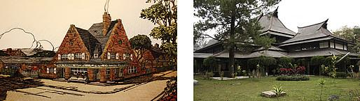 "Left: Drawing for a regionalist architecture entitled ""Auberge dans la Somme"" in Charles Letrosne's publication ""Murs et toits de chez nous"" (1923-6); Right: The""Technische Hogeschool"" in Bandung/Java in the Dutch East Indies (today Indonesia) by Henri Maclaine Pont in 1920 (Photo: Michael Falser 2014)"